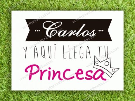 Cartel para boda - TU PRINCESA (colección Cenefa)