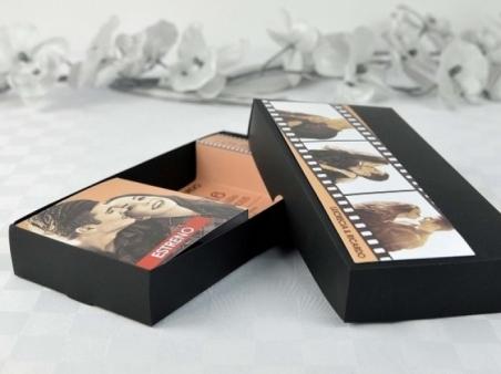 Invitación de boda original CAJA PELICULA de cine 32696