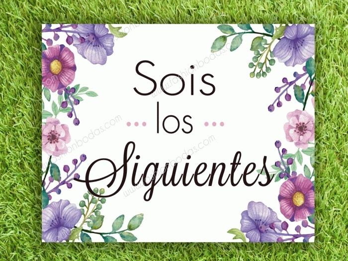 Cartel para boda - SOIS LOS SIGUIENTES (colección flores malvas)