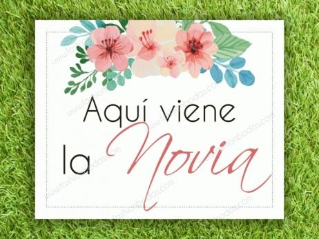 Cartel para boda - YA VIENE LA NOVIA  (colección flores)