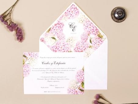 invitacion de boda flores HORTENSIAS rosa