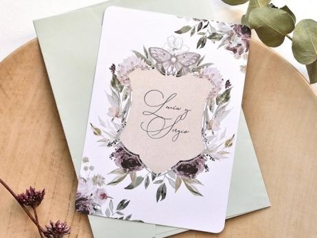 Invitación de boda - FLORES Y MARIPOSA   (E78939)