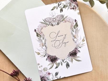 Invitación de boda barata FLORES Y MARIPOSA  39789