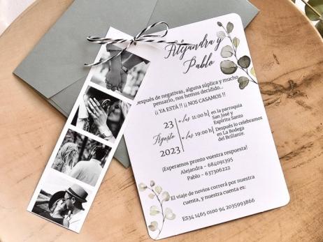 Invitación de boda - FLORES CON FOTOS  (E78439)