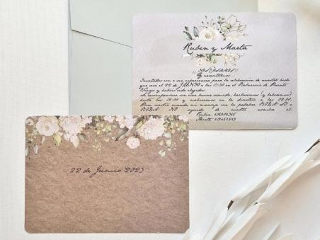 Invitación de boda barata FLORES VINTAGE  39782