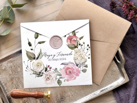 Invitación de boda barata FLORES VINTAGE  39777