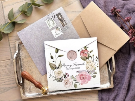 Invitación de boda - FLORES VINTAGE  (E77739)