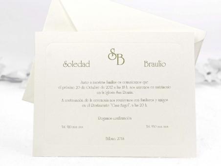 Invitación de boda CLASICA DORADA  CARD 32837