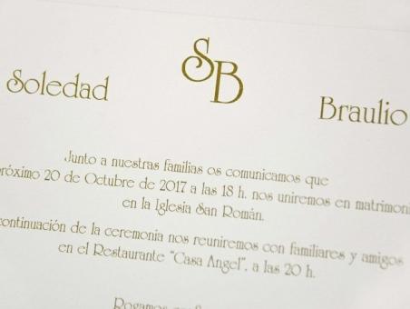 Invitación de boda CLASICA  CARD 32837