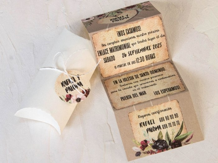 Invitación de boda - CAJA CON FLORES   (C80039)