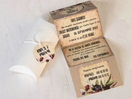 Invitación de boda CAJA CON FLORES  39800