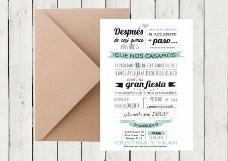 Invitaciones de boda MODERNAS diferentes con muchas letras