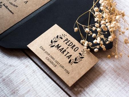 tarjeta de cuenta corriente para invitación de boda kraft laurel rústica