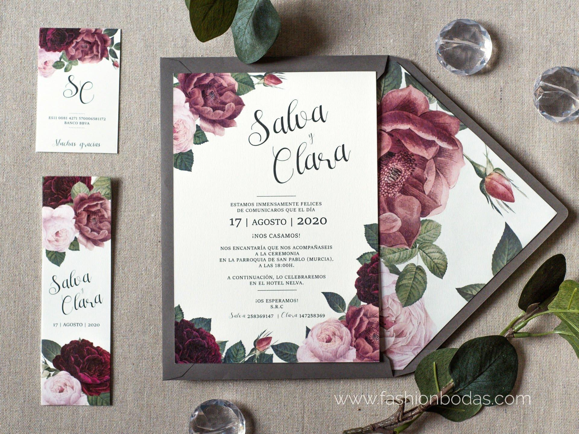 Invitación de boda - FLORES BURGUNDY