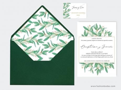Invitación de boda - HOJAS DE OLIVO