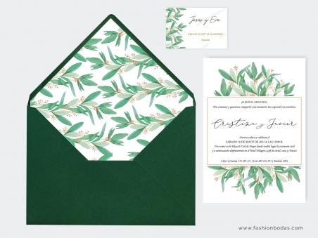 Invitaciones de boda botánicas con hojas verdes de olivo y letras bonitas