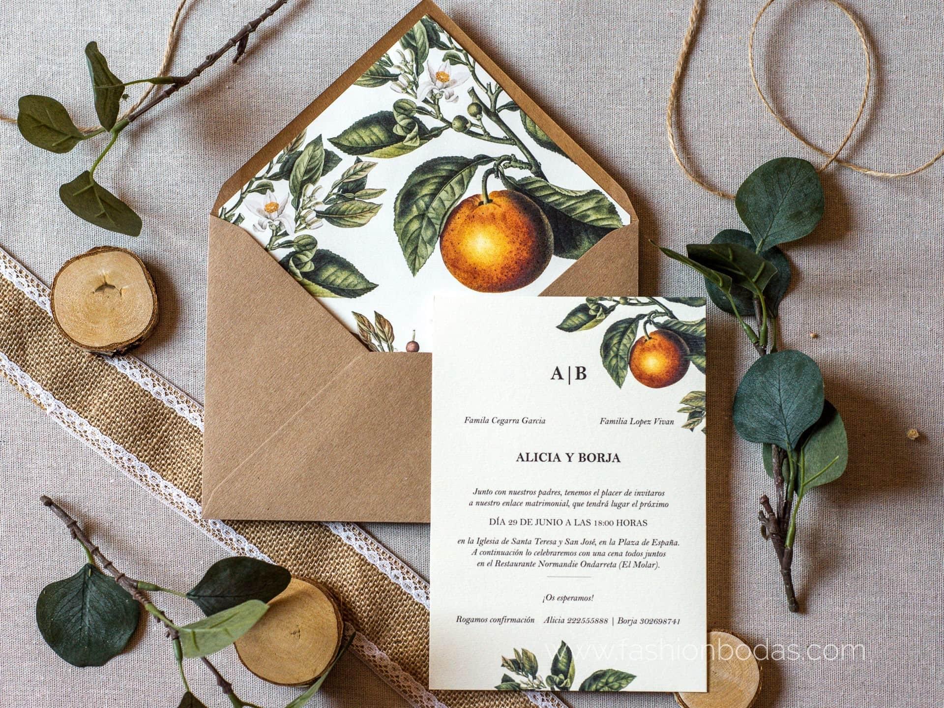 Invitación de boda - CLÁSICA NARANJAS