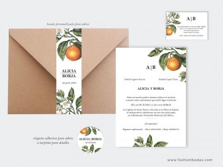 Invitaciones de boda naturales con naranjas y hojas verdes rústicas