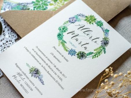 Invitaciones de boda Natural Corona con hojas verdes y motivos florales