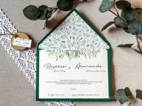 Invitación de boda Naturaleza con hojas verdes y tipografía escrita a mano