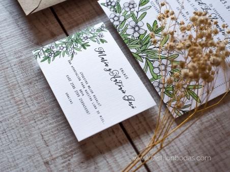 Invitaciones de boda naturaleza con hojas verdes FLORAL 2