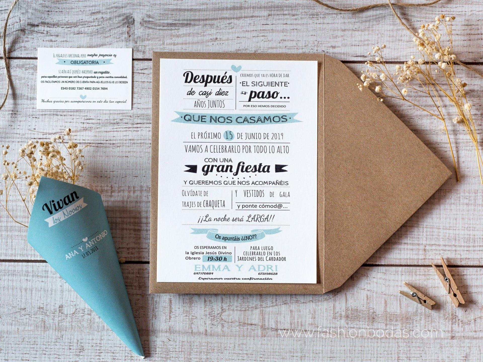 Invitacion de boda Moderna tipo MR. WONDERFUL Color Azul Sobre forrado  Sobre sin forro (incluido en el precio) Tarjetas nº cuenta No Impresión  Digital (+35€)