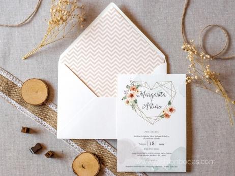 Invitación de boda - CORAZÓN GEOMÉTRICO CON FLORES