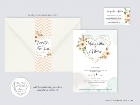 Invitaciones de boda modernas corazón geométrico con flores en colores salmón