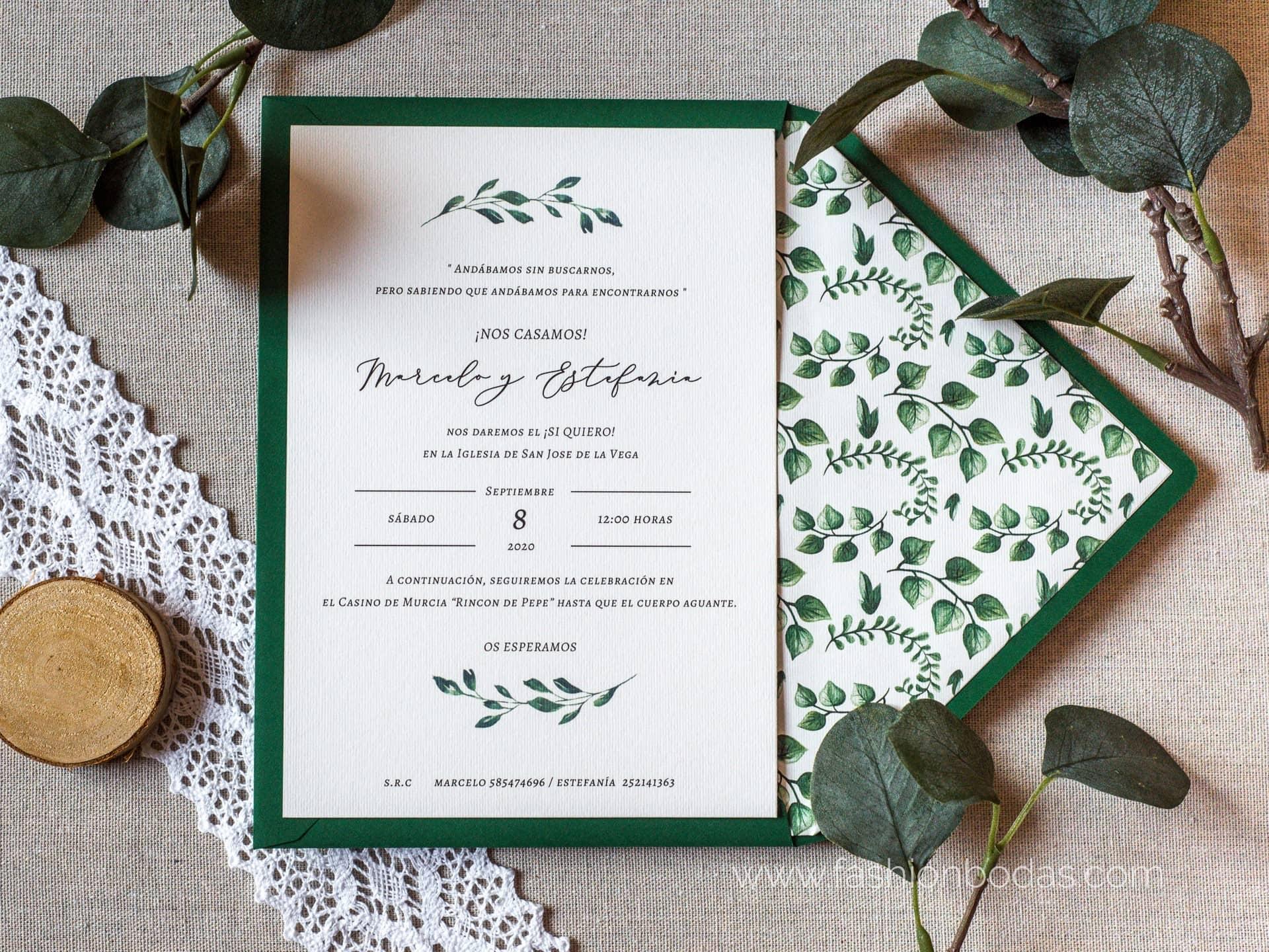 Invitación de boda - SENCILLA CON HOJAS VERDES