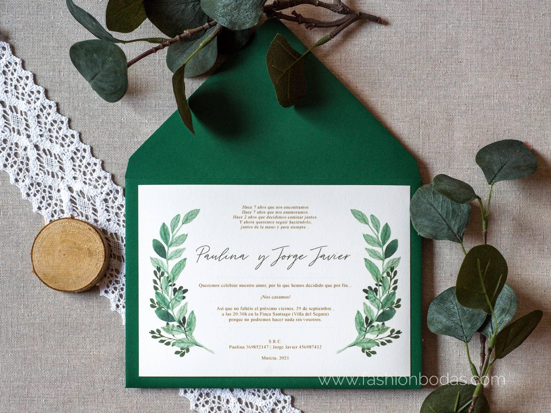 Invitación de boda - BOTÁNICA VERDE