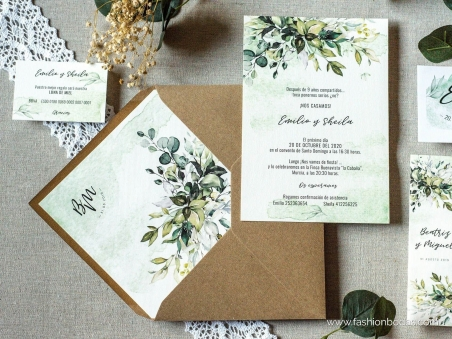 Invitaciones de boda con hojas verdes botánica acuarela