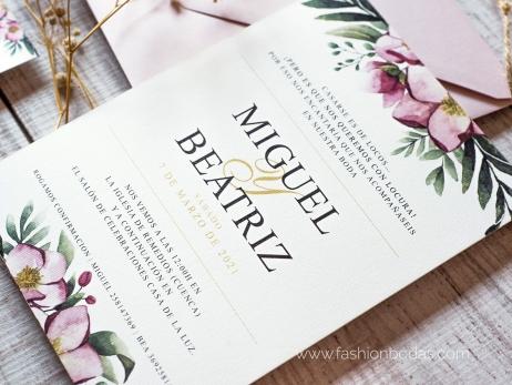 Invitación de boda - FLORES ROSAS