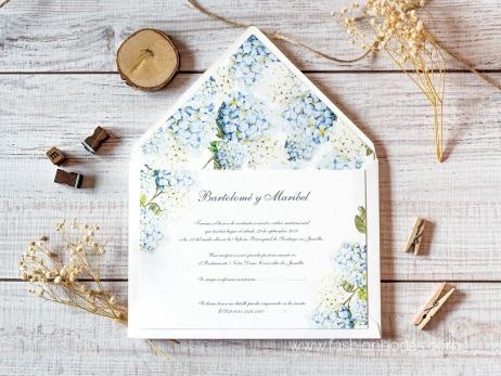 Invitación de boda - HORTENSIAS AZULES