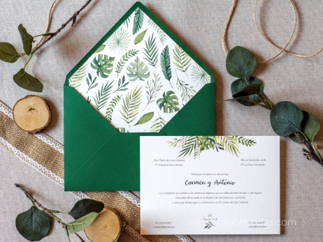 Invitación de boda - CLÁSICA HOJAS VERDES