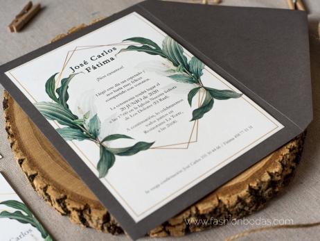 Invitación de boda - NATURAL GEOMÉTRICA VERDE