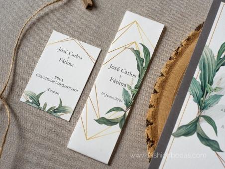 Invitaciones de boda original natural con hojas verdes , motivos geométricos y letras caligrafía modernas