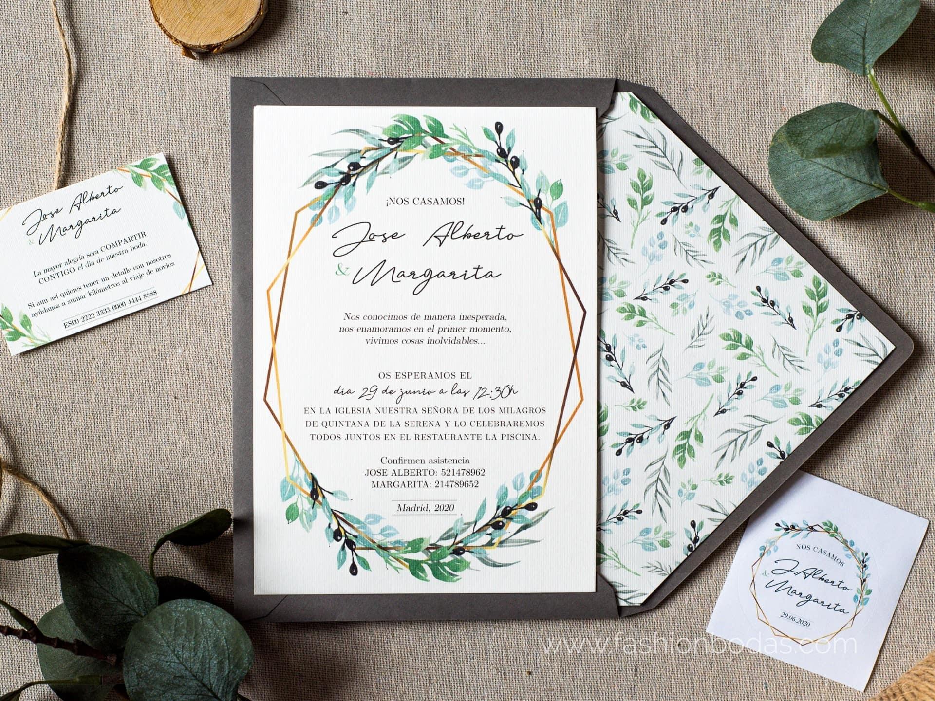 Invitación de boda - GEOMÉTRICA RAMAS