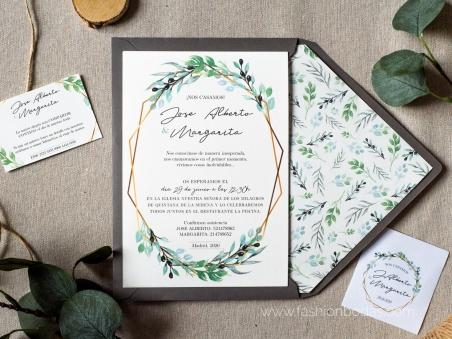 Invitaciones de boda original natural geométrica con ramas verdes  y letras caligrafía modernas