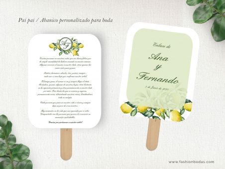 pai pai abanico personalizado para boda con limones, fondo imitando madera y letras clásicas