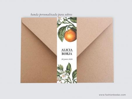 personalización para sobre invitaciones de boda con naranjas y motivos naturales