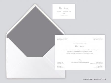 Invitaciones de boda clásicas elegantes sencillas con sobre blanco con forro gris