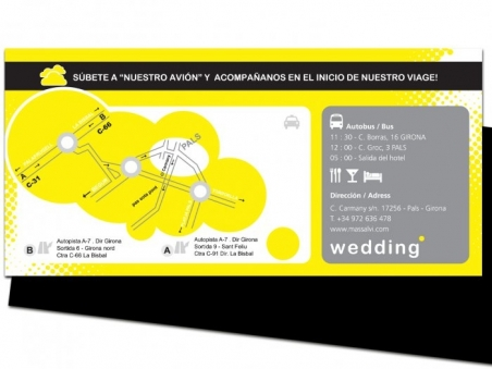 Invitación de boda - BILLETE AVION