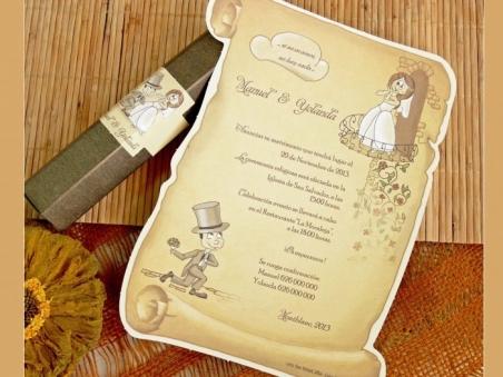 Invitación de boda barata pergamino en caja  32731