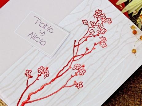 Invitación de boda - FLORES ROJAS   (CARD 32743)