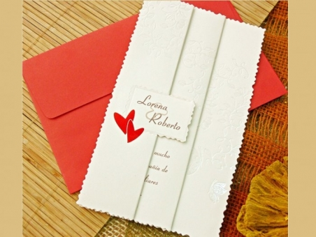 Invitación de boda barata sencilla roja 32757