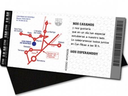 Invitación de boda - ENTRADA DE FUTBOL