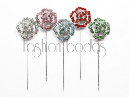 Alfiler de boda - PLATA FLOR BRILLANTES colores (ref. 37-2)