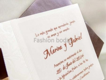 Invitación de boda barata elegante marron 32811