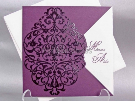Invitación de boda elegante barata morada 32812