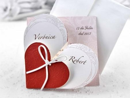 Invitación de boda barata corazon 32826